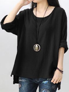Retro Women Side Slit Baggy Shirt Scoop Neck Long Sleeve Pure Color Black, 5XL #Doesnotapply #Blouse #Casual