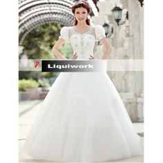 White Short Sleeve Gothic Lolita Spring Fall Wedding Dresses Gowns SKU-120004
