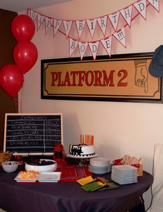 Vintage Train Themed Birthday Party for our two year old son. Borrowed a vintage train lantern and platform sign, handmade birthday banner, chalkboard with train departures, train whistle party favours.