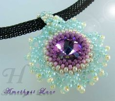 Another bezeling idea--netted lace surround. Also might try herringbone. *Amethyst Lace* Bezel Beaded Rivoli