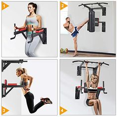OneTwoFit Multifunctional Wall Mounted Pull Up Bar Power Tower Set Chin Up Station Home Gym Workout Strength Training Equipment Fitness Dip Stand Supports to 330 Lbs 2 country running marathons training World tips running equipment accessories Home Made Gym, Diy Home Gym, Gym Room At Home, Home Gym Decor, Power Tower, Home Gym Garage, Basement Gym, Home Gym Equipment, No Equipment Workout