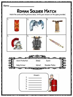 Roman Soldier Facts & Worksheets   Kids Study Resource