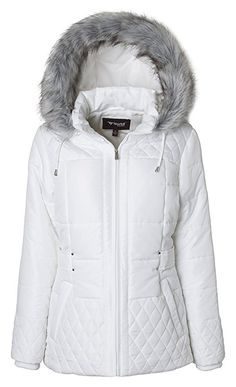 27a92d2d5b88d Sportoli Women s Midlength Quilted Trim Down Alternative Plush Lined Puffer  Coat with Zip-off Fur Trim Hood - Snow White (Small)
