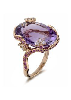 Amethyst, Pink Sapphire and Diamond Ring  /  Bague améthyste, saphir rose et diamant
