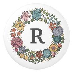 Initial Flower Wreath ceramic knob  $8.60  by RebeccaJaneDesign  - cyo diy customize personalize unique