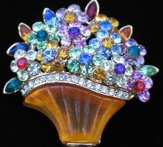 MULTI RHINESTONE HAPPY MOTHERS DAY EASTER FLOWER BASKET BOUQUET PIN BROOCH 1 3/4 #Unbranded