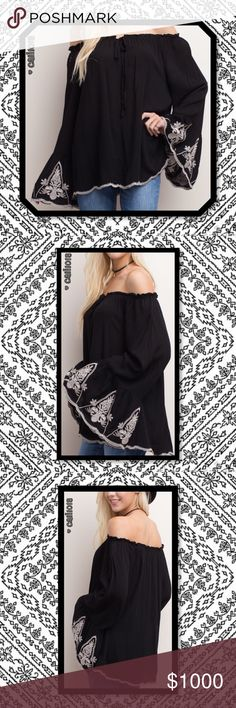 ⭐️⭐️COMING IN 2-3 DAYS RESERVE YOUR SIZE TODAY⭐️⭐️ New Boho Black Embroidered Bell Sleeve Off Shoulder Tunic  Material: 100% Rayon  Made in China  Fits Oversized Look  Sizes Avail: Small, Medium, Large  Great quality  🌺🌺MEASUREMENTS AVAIL UPON REQUEST (If serious only please)🌺🌺   💠💠PRICE FIRM UNLESS BUNDLED💠💠  ⭐️⭐️LOWBALL AND TRADE OFFERS WILL BE IGNORED (SORRY)⭐️⭐️ Glam Squad 2 You Tops