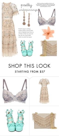 """""""What's Under?"""" by queenshaima ❤ liked on Polyvore featuring Wacoal, Needle & Thread, Cynthia Rowley and Marchesa"""