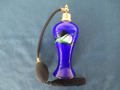 Vintage Art Glass Cobalt Blue Perfume Bottle With by BitofHope
