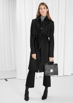 & Other Stories Wool Trenchcoat in Black