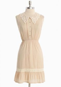 Demure Grace Beige Dress | Modern Vintage Dresses    I love this lace, and perfect length!