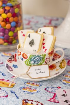 Playing card cookies - love