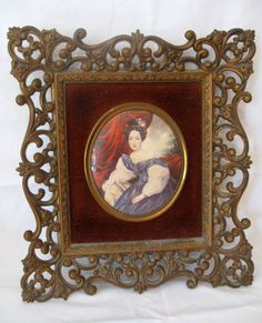 """RARE Vintage Large 12"""" Extremely Ornate Victorian Cameo Creation Hollywood Regency Bubble Convex Glass Gold Framed Portrait of a Lady by VintageChicPleasures on Etsy"""