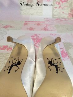 Vintage Romance Presents...  The Decals Beautiful Disney Wedding Day Shoe decals, the perfect finishing touch to your shoes! Disney themed for the perfect fairytale wedding with Tinkerbell. Made from hard wearing outdoor grade vinyl, which is simple and easy to apply but can be carefully removed after use if you wish. Full application instructions are included. Colours Available in the following: Black Red, Royal Blue – Perfect for your something blue Hot Pink Light Pink White Please put…