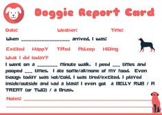 Doggie Report Card Design Petsitter Dogwalker