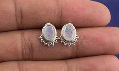 Oorknopjes - Regenboog Maansteen Zilver Stud, Gemstone Jewelry - Een uniek product van Midas-Jewelry op DaWanda
