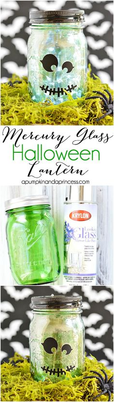 DIY Mercury glass halloween mason jar - frankenstein mason jar craft with rice lights. Boo Halloween, Halloween Geist, Halloween Party Decor, Holidays Halloween, Halloween Crafts, Pot Mason Diy, Mason Jar Crafts, Halloween Mason Jars, Halloween Apothecary