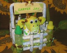 How to make a cow from Diapers Diaper Cake Keepsake by babyboo0722. $8.99 USD, via Etsy.