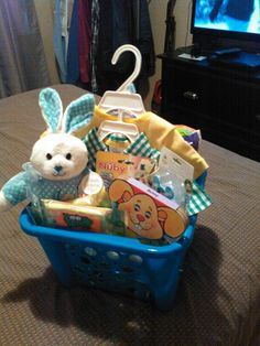 Babys first easter basket i made for my son trace i used wal mart easter basket for 3 months baby negle Image collections
