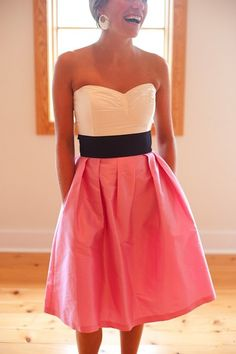 dress two tone coral white black bridesmaid coral dress