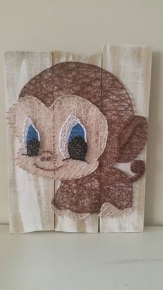 Big eyes Monkey String art. Check us out on Facebook at All Strung Up. https://www.facebook.com/pages/All-Strung-Up/915873695199667?ref=hl