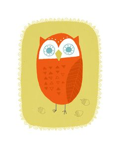 Delightful art prints for kids' rooms! Tomas the Owl by Colin Walsh by PetitReve on Etsy, $20.00