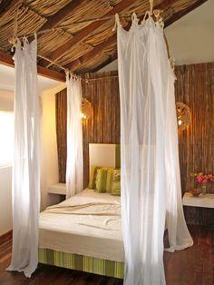 Fancy Bed Frame Having Steel Ceiling Mount Canopy Added White ...