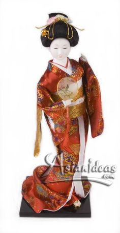 "Today's Feature Product :Japanese Geisha Dolls with Red Kimono and fan    This geisha Japanese doll, wearing a traditional kimono and carrying a hand fan, is a beautiful reminder of a long lost time!  In Japanese, the word ""gei"" translates to arts or performance, while ""sha"" means people.     http://www.asianideas.com/japanesegeishadolls3.html"