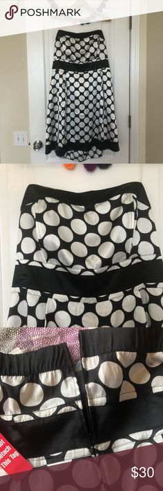 🆕 NWT ADORABLE black & white polka dot dress 22w Silky polyester black and white polka dot dress is so darn cute, just a little too snug for me. 😭 My loss is your gain! Dress features a zip up back, an empire waist, and boning in the chest for a figure flattering look! Brand new and never worn and ready to party! Wishes Wishes Wishes Dresses