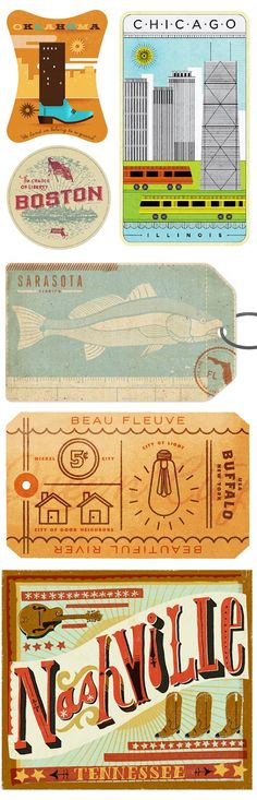 the everywhere project is a collective design and illustration project that pays tribute to the folk song i've been everywhere. curatoradrian walsh asked designers and illustrators to create luggage labels inspired by all of the locations listed in the song.