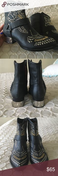 Ankle boots Studded silver and gold, black leather ankle booties. Super comfy and have only been worn a handful of times. Jeffrey Campbell Shoes Ankle Boots & Booties