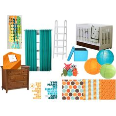 Nursery colors -- love the paper lantern lights! Can probably get some from Party City.