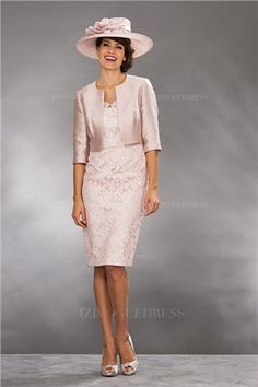 28f677b57 Sheath Column Scoop Neck Knee-Length Lace Satin Lace Zipper Up Sleeves  Sleeves Yes Ivory Pearl Pink Spring Summer Fall General Mother of the Bride  Dress