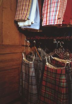 The Duke of Windsor's wardrobe showing some of his kilts and golfing trousers.
