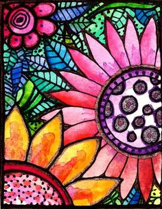 Fleurs..watercolor and ink…  04/18/2011 Posted by Robin under watercolor