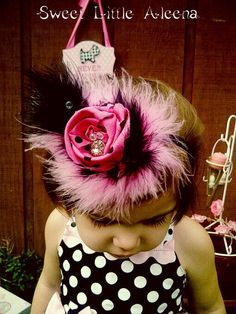 Pink and Black Hair Clip or Fancy Headband Baby girls bows with Feathers Wedding Hair Accessories Photo Props. $7.25, via