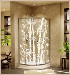 Tropical Etched Glass Window Film Design Big Bamboo See Thru | Wallpaper For Windows