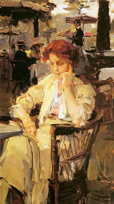 ✉ Biblio Beauties ✉ paintings of women reading letters & books - Israels Isaac | Girl in Hyde park Sun