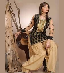 Buy black embroidered cotton and net unstitched salwar with dupatta dress-material online