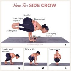 New Month! New yoga pose! Side_Crow Pose for the month of October! Side Crow Pose, Pilates, Cardio Yoga, Yoga Training, Different Types Of Yoga, Yoga Equipment, Qi Gong, Yoga Moves, Yoga Poses For Beginners