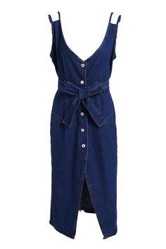Single-Breasted Denim Midi Dress With Belt