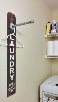 Clothing Rack Pipe Rack Industrial Decor Laundry Room Decoration Galvanized Decor Laundry Rack Rustic Laundry Sign Wood Clothing Rack by LittleFences on Etsy Laundry Room Remodel, Laundry Room Signs, Laundry Room Organization, Laundry In Bathroom, Storage Organization, Laundry Decor, Storage Shelves, Laundry Room Shelving, Small Laundry Rooms