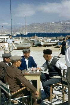 Mykonos a group of old friends talk and drink ouzo, Cyclades, Greece Old Time Photos, Old Pictures, Crete Greece, Athens Greece, Mykonos Greece, Greece People, Greece Culture, Greece History, Myconos