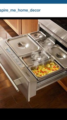 Warming drawer pans,A Wolf warming drawer. This is amazing. Little home appliances which make your every day life simpler Small kitchen appliances can perform everything:. Kitchen Pantry, Kitchen And Bath, New Kitchen, Kitchen Dining, Kitchen Decor, Kitchen Ideas, Awesome Kitchen, Wolf Kitchen, Kitchen Buffet