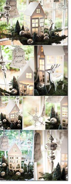 Speckled Fawn: Pomysły na Zaczarowane Święta 2 - prawie 100 inspiracji! :) Noel Christmas, Christmas Houses, Little Christmas, Christmas Is Coming, Christmas Villages, White Christmas, Christmas Ornaments, Putz Houses, Glitter Houses