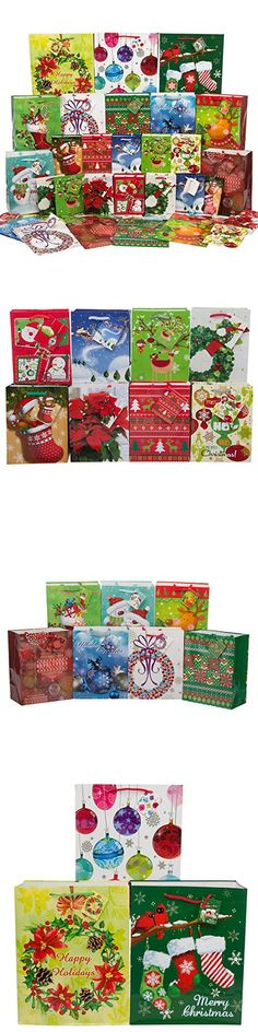 Fortune Bags (36ct) Holiday Gift Bags Handles & Tags Bulk Assorted Christmas Small Medium Large