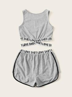 Girls Letter Tape Crisscross Hem Top & Dolphin Shorts Set - Source by parsonsha - Swag Outfits For Girls, Cute Lazy Outfits, Girls Fashion Clothes, Teenage Girl Outfits, Crop Top Outfits, Teen Fashion Outfits, Sporty Outfits, Pretty Outfits, Cool Outfits