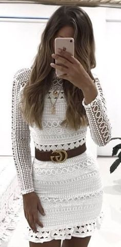 #winter #outfits white knitted long-sleeved mini dress