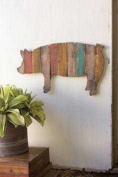 multi-striped wooden pig wall art