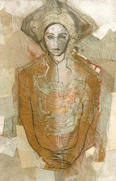 """Hommage à Watteau V, a Graphite on Paper by Ute Rathmann from Germany. It portrays: Men, relevant to: rococo, bronze, Mixed Media, collage, ute rathmann, contemporary, drawing, fashion, figurative, figure, illustration, baroque Graphite pencils, crayons, pastels, bronze pigments, gouache, watercolors on paper with collage  8,7"""" x 5,7"""" (22,7 x 14,6 cm)  August 2013  Signed and dated on the back"""